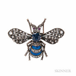 Antique Sapphire and Diamond Bee Brooch