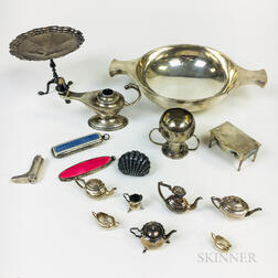 Group of English Sterling Silver Tableware and Miniatures