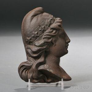 Small Cast Iron Plaque of Lady Liberty's Head