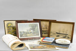 Group of Currier & Ives Books, Reproduction Prints, and Calendars.     Estimate $50-75