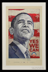 """Antar Dayal (American, 20th Century),   2008 Barack Obama Presidential Campaign """"Yes We Can"""" Poster"""