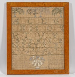 "Large Needlework Sampler ""Olive C. Evans,"""