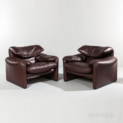 Pair of Vico Magistretti for Cassina Maralunga Chairs
