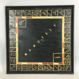 Framed Painted Plywood Monopoly Board