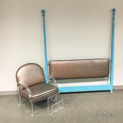 Upholstered Lucite Armchair, a Lucite Magazine Rack, and a Lacquered Headboard.     Estimate $200-400