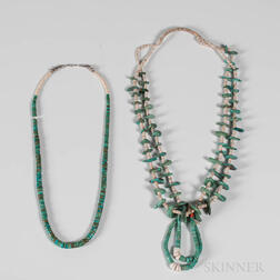 Two Southwest Turquoise and Shell Necklaces