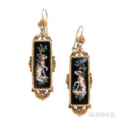 Antique Gold and Enamel Spaniel Earrings