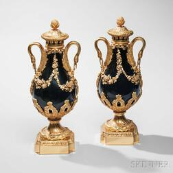 Pair of French Gilt-bronze-mounted Porcelain Vases