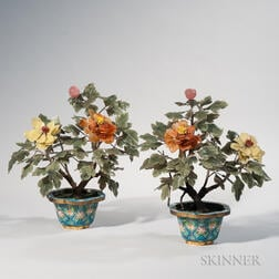 Pair of Hardstone Peonies in Cloisonne Pots