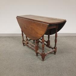 William and Mary Turned Walnut Gate-leg Drop-leaf Table