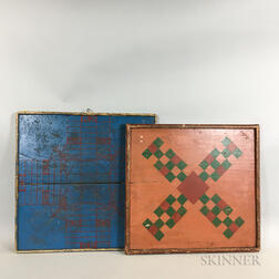 Two Large Painted Pine Game Boards