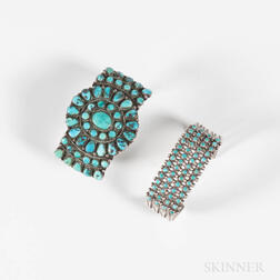 Two Southwest Silver and Turquoise Multi-Stone Bracelets