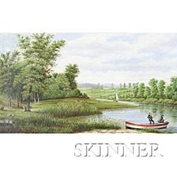 American School, 19th Century  River View with Fishermen in Red, White, and Blue Striped Boat.