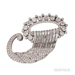 Platinum and Diamond Cornucopia Brooch