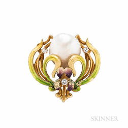 Art Nouveau 14kt Gold, Freshwater Pearl, and Enamel Pendant/Brooch, Krementz & Co.