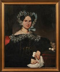 American School, 19th Century      Portrait of a Young Woman Wearing a Fancy Lace Bonnet and Collar