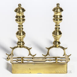 Miniature Brass Ring-turned Andirons and Fender