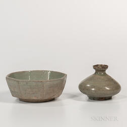 Two Celadon-glazed Items