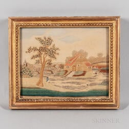Needlework Picture of English Cottage