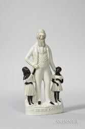 Staffordshire Figure of John Brown with African American Children at His Side