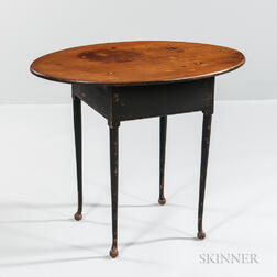 Black-painted Oval-top Tea Table