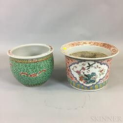 Two Polychrome Decorated Jardinieres