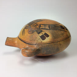 Large Southwest Polychrome Pottery Canteen