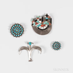 Four Southwest Silver and Turquoise Pins