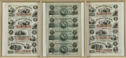 Three Framed Uncut Sheets of Obsolete Currency