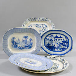 Five Assorted Blue and White Platters