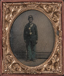 Framed Tintype Depicting an African American Soldier
