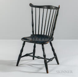 Blue-painted Fan-back Windsor Side Chair