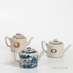 Three Export Porcelain Teapots