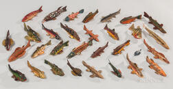 Collection of Thirty-one Carved and Painted Fish Lures