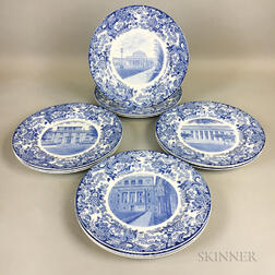 Twelve Wedgwood Blue and White Transfer-decorated MIT Commemorative Plates