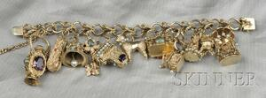 14kt Gold Gem-set Charm Bracelet