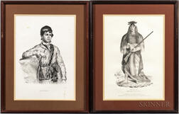 McKenney, Thomas L. (1785-1859) and James Hall (1793-1868) Seventeen Folio Lithographic Portraits [from] History of the Indian Tribes o