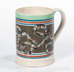 Slip-decorated Pearlware Quart Mug