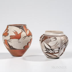 Two Southwest Polychrome Pottery Jars