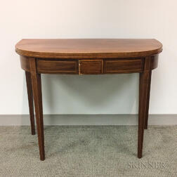 Federal Inlaid Mahogany D-shaped Card Table