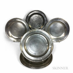 Eight English Pewter Chargers