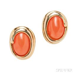 14kt Gold, Coral, and Diamond Earclips