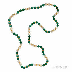 Dyed Green Chalcedony and Cultured Pearl Necklace