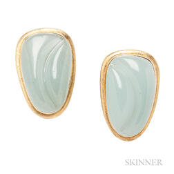 "18kt Gold and ""Forma Livre"" Aquamarine Earrings, Burle Marx"