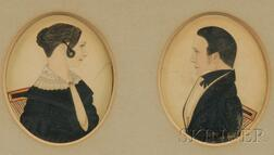 Pair of Portrait Miniatures of Samuel S. Barker and His Wife Mary Ann Barker