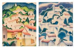 Mabel King (American, 20th Century)      Two Prints: Hillside Patterns, Taxco