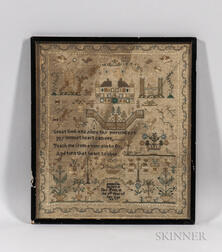 "Framed Needlework Sampler ""Isabella Baldwin,"""