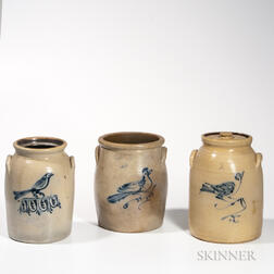 Three Cobalt Bird Decorated Jars