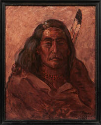 Oil on Board Portrait of an American Indian