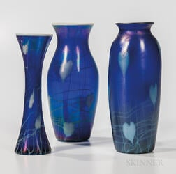 Three Imperial Art Glass Vases with Hearts and Vine Decoration